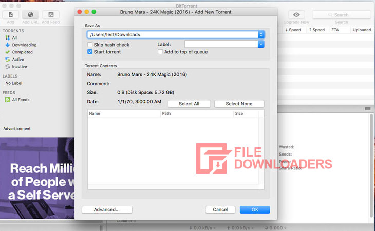 BitTorrent for Mac OS